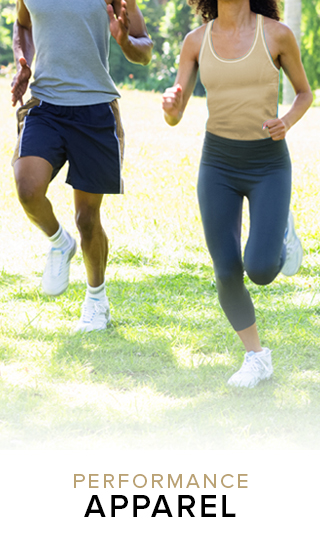 Picture of students jogging. Performance Apparel. Click to shop.